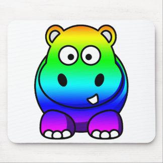 Haber coloreado multi, hipopótamo del arco iris mousepads