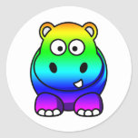Haber coloreado multi, hipopótamo del arco iris etiqueta