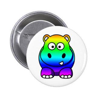 Haber coloreado multi, hipopótamo del arco iris pin redondo de 2 pulgadas