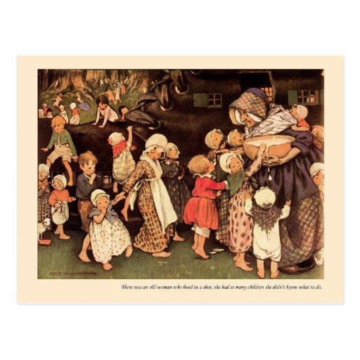 Había una poesía infantil de la mujer mayor - tarjeta postal