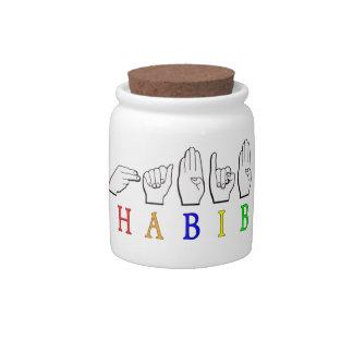 HABIB FINGERSPELLED ASL NAME SIGN CANDY DISHES