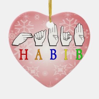 HABIB FINGERSPELLED ASL NAME SIGN CERAMIC ORNAMENT