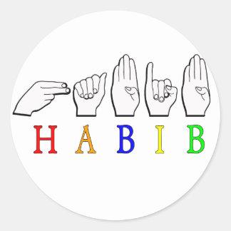 HABIB FINGERSPELLED ASL NAME SIGN CLASSIC ROUND STICKER