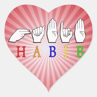 HABIB FINGERSPELLED ASL NAME SIGN HEART STICKER