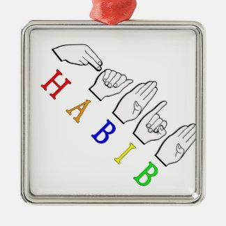 HABIB FINGERSPELLED ASL NAME SIGN METAL ORNAMENT