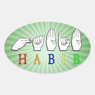 HABIB FINGERSPELLED ASL NAME SIGN OVAL STICKER