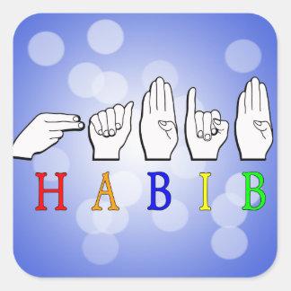 HABIB FINGERSPELLED ASL NAME SIGN SQUARE STICKER