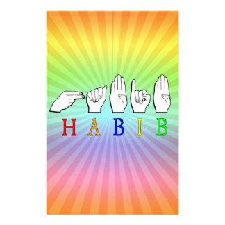 HABIB FINGERSPELLED ASL NAME SIGN STATIONERY