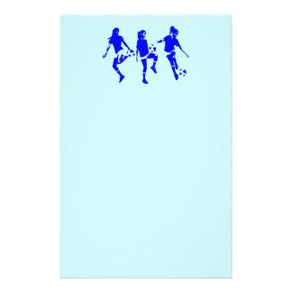 Habilidades femeninas azules del fútbol papelería