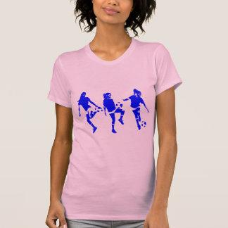 Habilidades femeninas azules del fútbol playeras