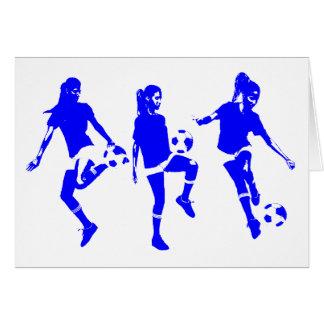 Habilidades femeninas azules del fútbol tarjetas