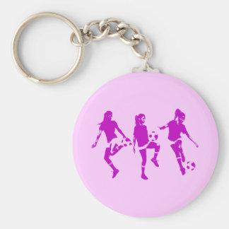 Habilidades femeninas de color de malva del fútbol llaveros