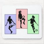 Habilidades para mujer del fútbol alfombrilla de ratones