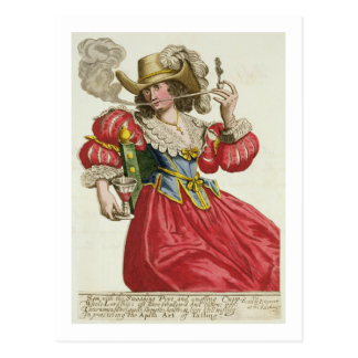 Habit of a wealthy lady about 1630 (coloured engra postcard