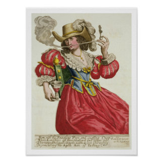 Habit of a wealthy lady about 1630 (coloured engra poster