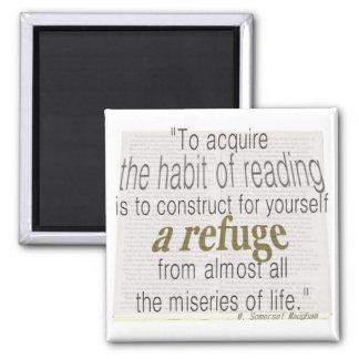 Habit of reading 2 inch square magnet