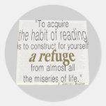 Habit of reading round sticker