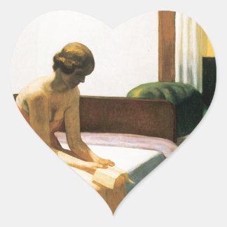 Habitación de Edward Hopper Pegatina De Corazon Personalizadas