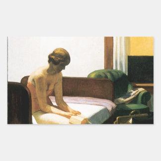 Habitación de Edward Hopper Rectangular Pegatina