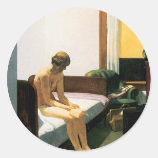 Habitación de Edward Hopper Etiquetas Redondas