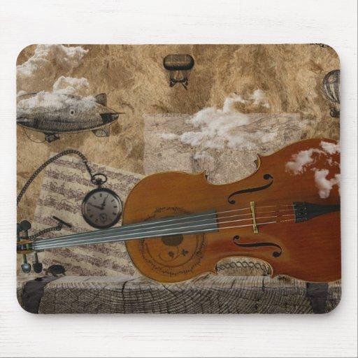Habitación de Steampunk del violoncelo Alfombrilla De Raton