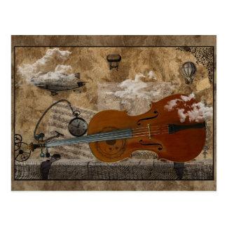 Habitación de Steampunk del violoncelo Tarjeta Postal