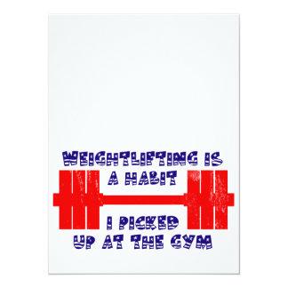 """Hábito americano del levantamiento de pesas invitación 5.5"""" x 7.5"""""""