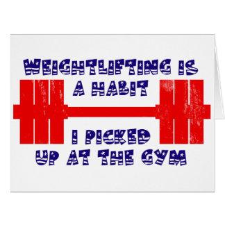 Hábito americano del levantamiento de pesas tarjeta de felicitación grande