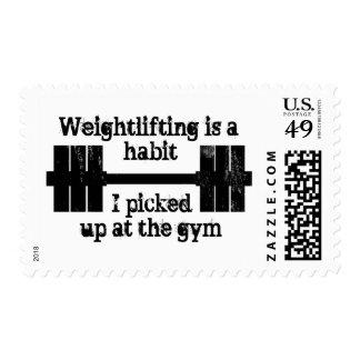 Hábito del levantamiento de pesas sello postal