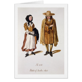 Habits of Quakers, 1675 (coloured engraving) Card