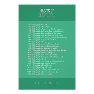 Habits of Slim People (cyan) Poster