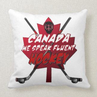 Hablamos la almohada fluida del humor de Canadá Cojín Decorativo
