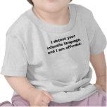 Hable al bebé conmigo, yo detestan su langua infan camiseta