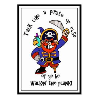 Hable al pirata o camine el tablón - es día del tarjetas de visita grandes