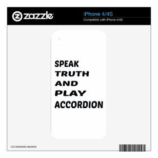 Hable el acordeón de la verdad y del juego iPhone 4 calcomanías