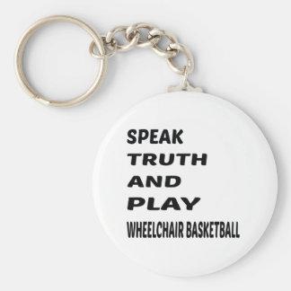 Hable el baloncesto de silla de ruedas de la llavero redondo tipo pin