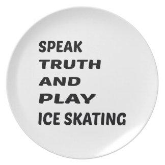 Hable el patinaje de hielo de la verdad y del platos