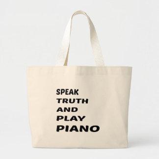 Hable el piano de la verdad y del juego bolsa tela grande