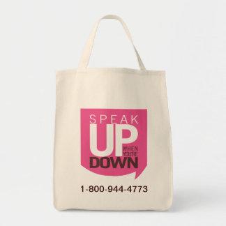 Hable encima de cuando usted está abajo de tote bolsa tela para la compra