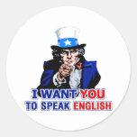 Hable inglés etiqueta redonda