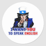 Hable inglés etiquetas redondas