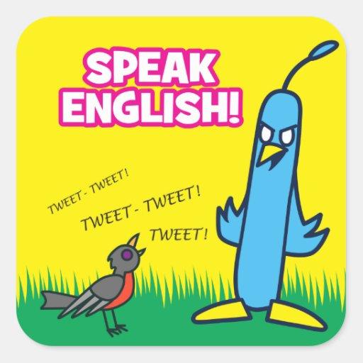 Hable inglés pegatina cuadradas personalizada