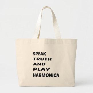 Hable la armónica de la verdad y del juego bolsa tela grande
