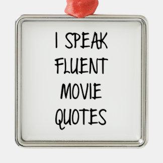 Hable las citas fluidas de la película adorno navideño cuadrado de metal