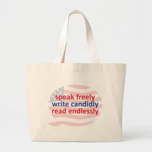 hable libremente, escriba sinceramente, lea sin fi bolsa tela grande