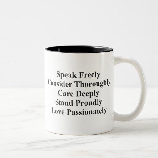 Hable libremente taza de dos tonos