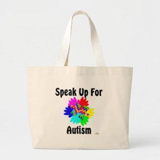 Hable para arriba para el autismo bolsa tela grande