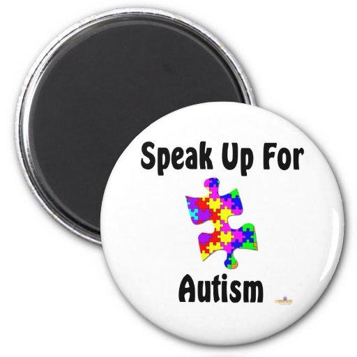 Hable para arriba para el autismo imán redondo 5 cm
