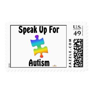 Hable para arriba para el autismo sello