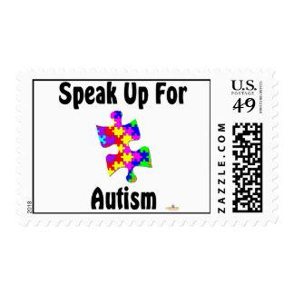 Hable para arriba para el autismo timbres postales